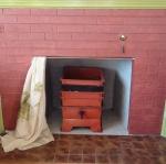 worm bin in fireplace