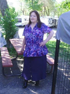 Margaret purple floral top and skirt